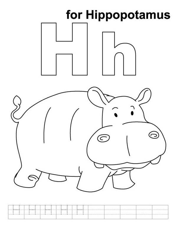H For Hippopotamus In Hippo Coloring Page Coloring Pages Hippo