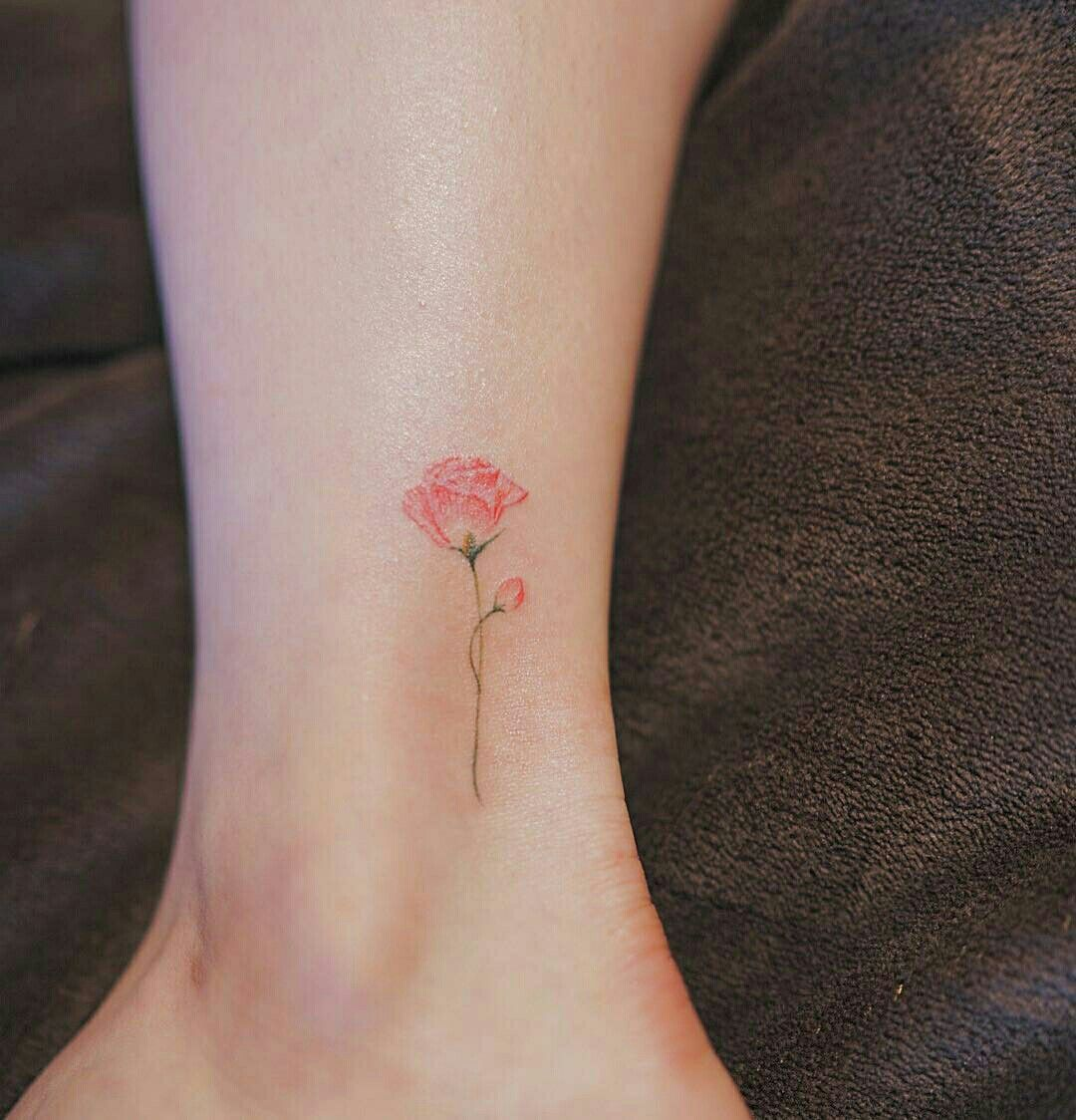 Yellow Rose On Back Of Ankle W Mama Ankle Tattoos For Women Tiny Rose Tattoos Rose Tattoo On Ankle