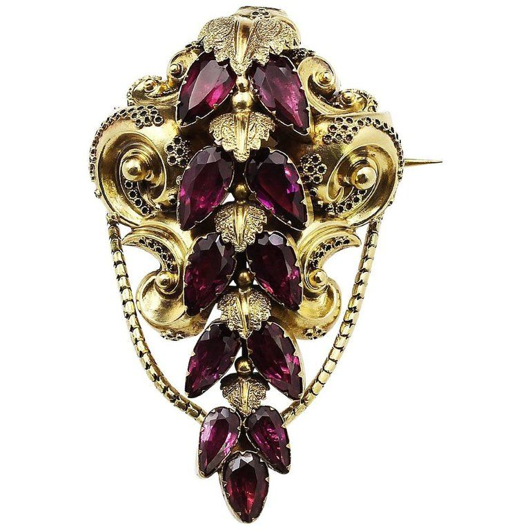 Late 19th Century 21 Karat Gold Garnet Brooch Brooches 21st and Gold