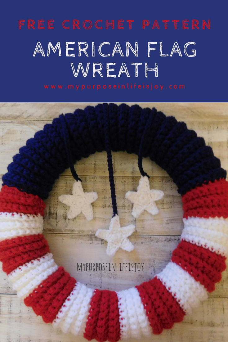 Crochet American Flag Wreath-Free Pattern and Instructions | Pinterest