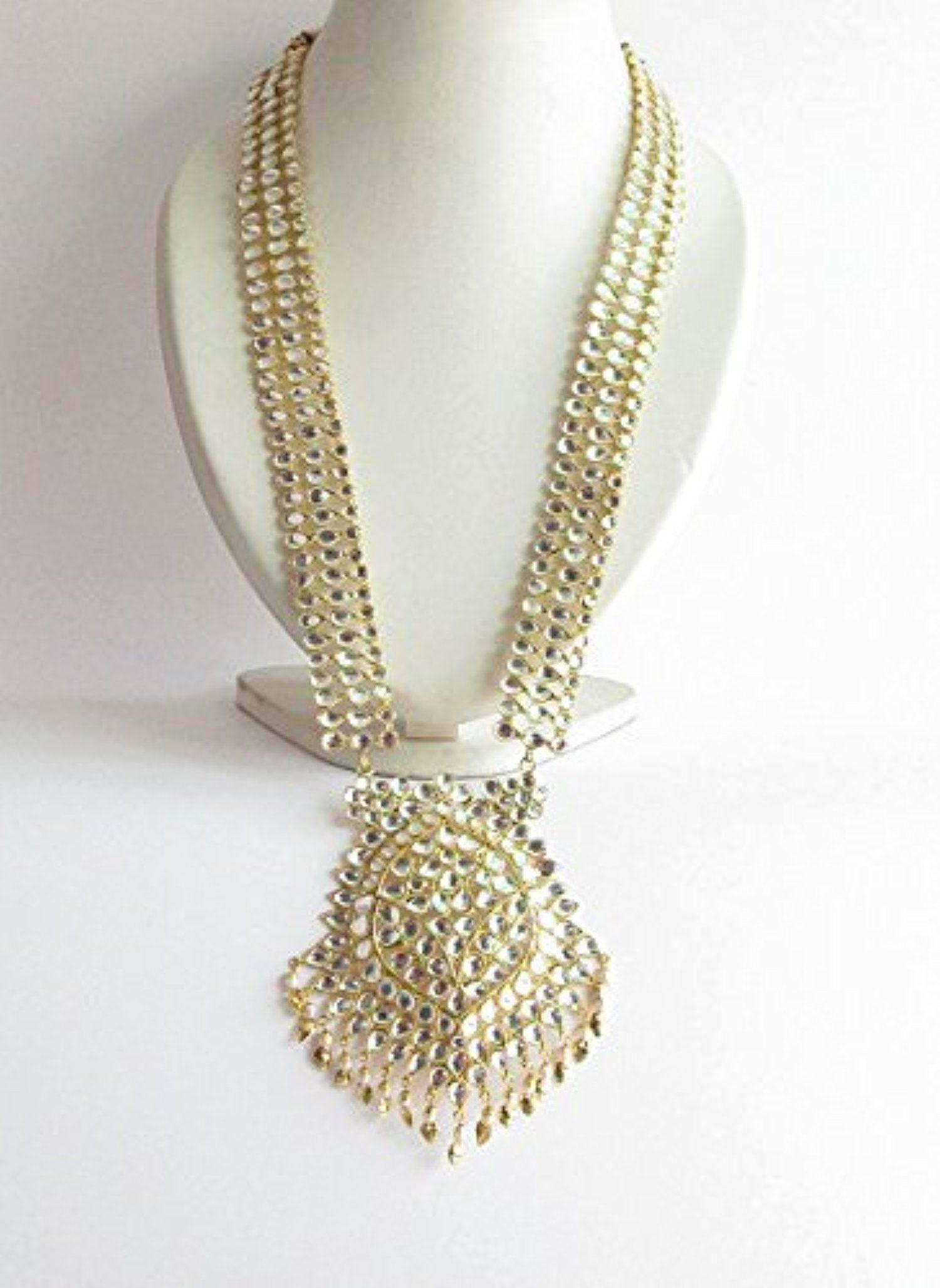 ee988abc8c0 Princess Kundan Rani Haar Necklace Earrings Set Layered Raani Haar Gold  Indian Punjabi Bridal Long Jadau Necklace Jewelry Bridal Pakistani Muslim  Set ...
