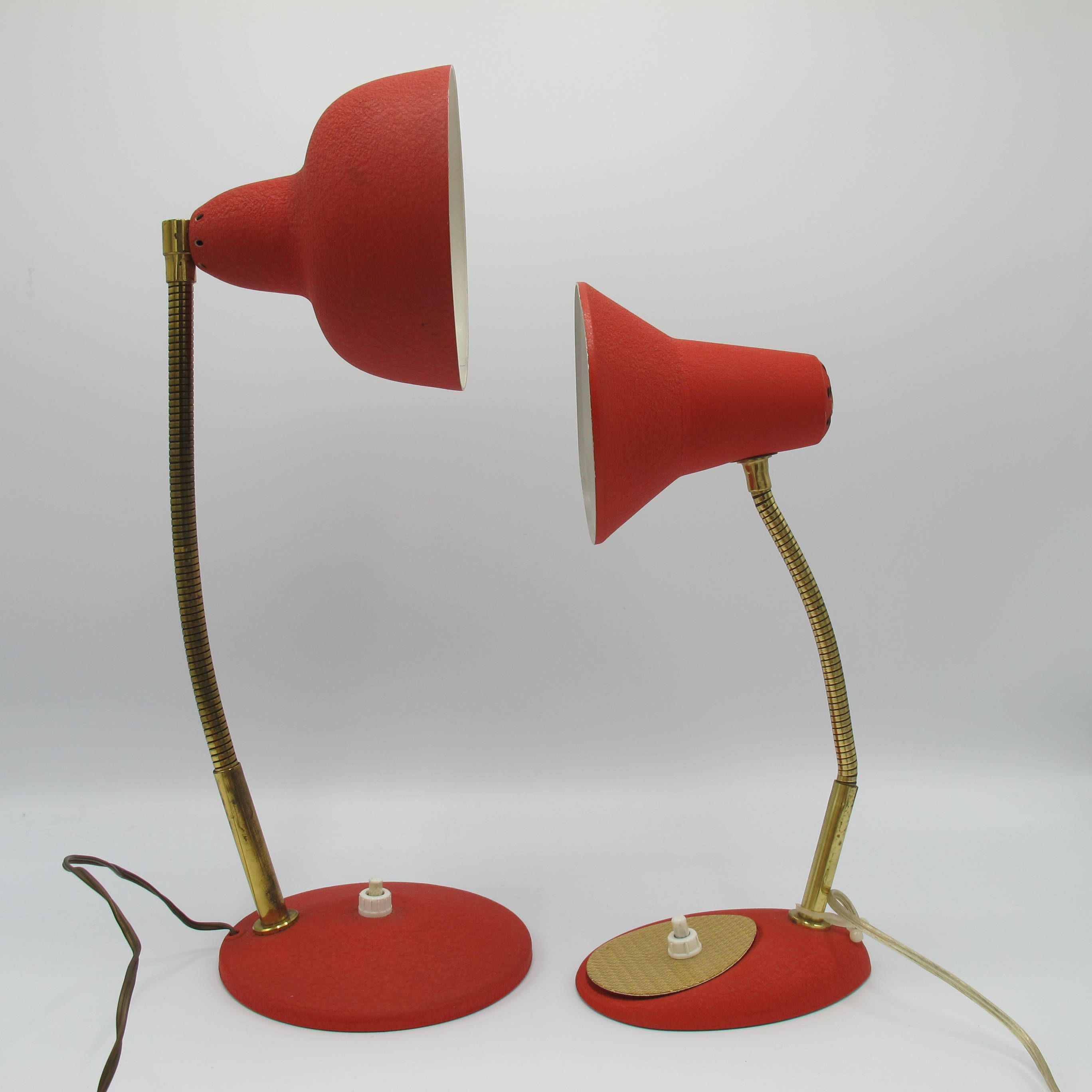 Desk Lamp Mid Century French Vintage Lamp Red Lamp 1960 Lampe