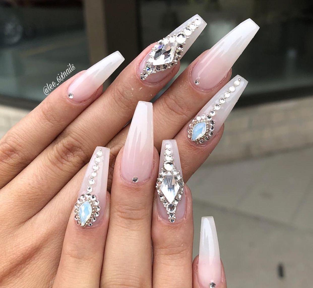 Pin By S A N T A N A On Acrylic Nails Diamond Nails White Diamond Nails Nails Design With Rhinestones