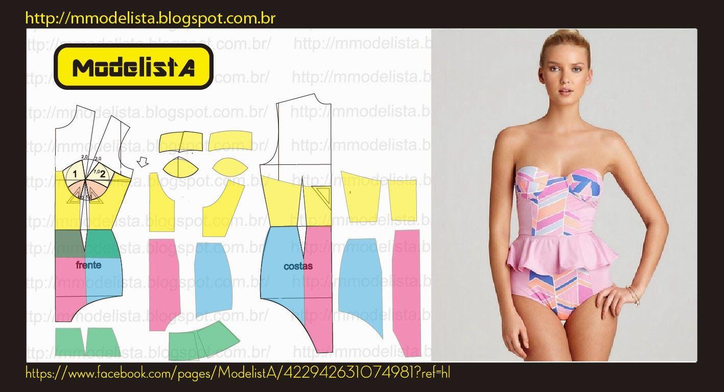 MAIÔ + PEPLUM   PATRONES DE COSTURA   Pinterest   Sewing, Sewing ...