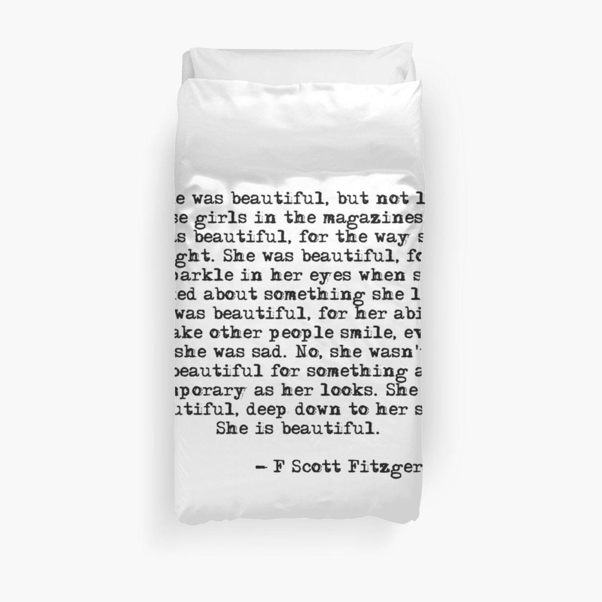 330bc616 Bed Comforter | 'She was beautifulF Scott Fitzgerald' by peggieprints as a T -Shirt, Classic T-Shirt, Tri-blend T-Shirt, Lightweight Hoodie, Women's  Fitted ...