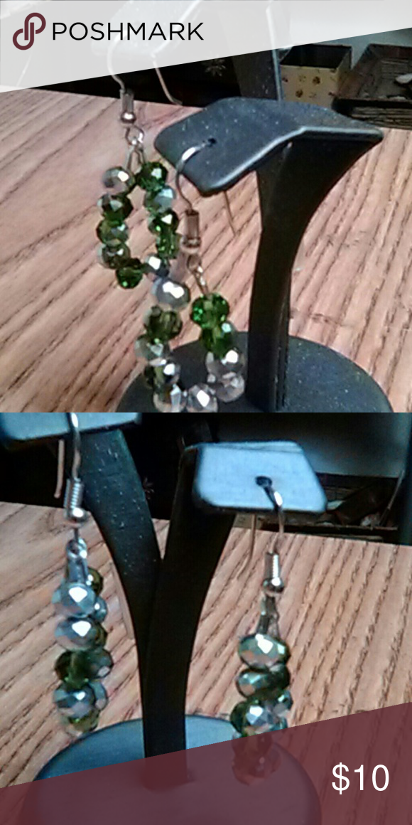 Green and Silver Holiday Earrings Made with Swarovski Bicone glass beads. Matching Bracelet listed separately. Asking $10 o.b.o. Designs by Loni Jewelry Earrings