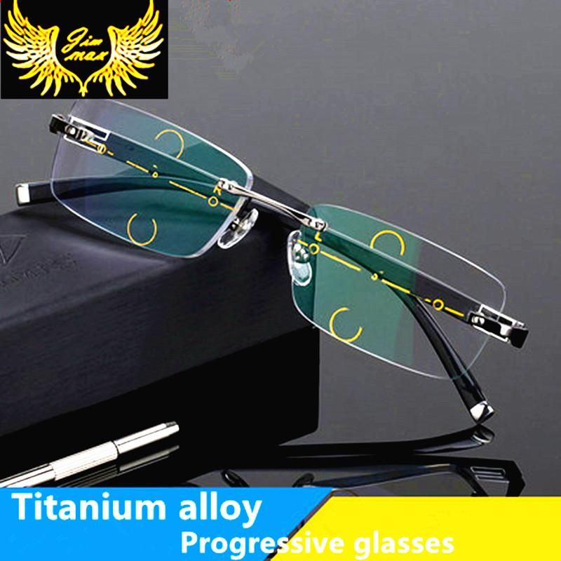 bff665e3504 Fashion Rimless Men Style Titanium Alloy Progressive Reading Glasses  Quality Square Multifocal Presbyopia Glasses Frame for