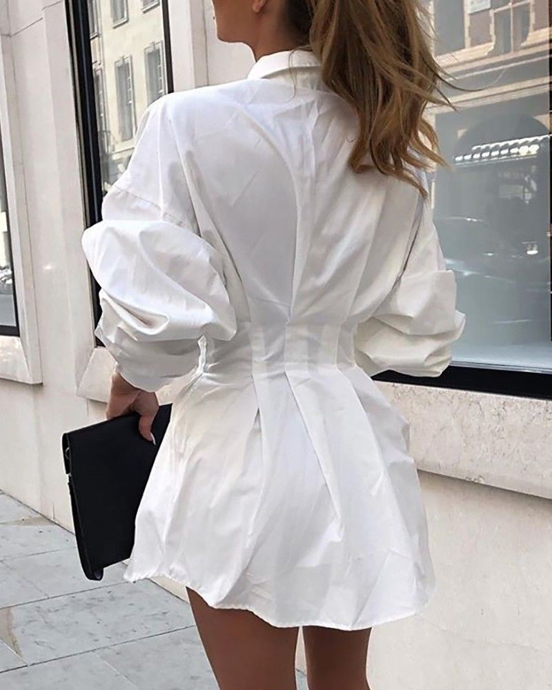 Solid Long Sleeve Tight Waist Shirt Dress Online Discover Hottest Trend Fashion At Ivrose Com In 2020 Shirt Dress Mini Shirt Dress Fashion [ 1000 x 800 Pixel ]