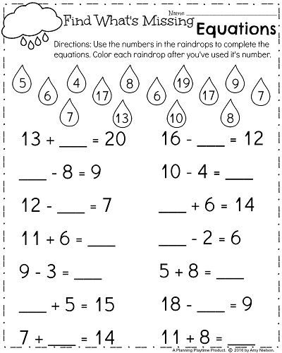 Spring First Grade Worksheets Fill In The Missing Number Equations 1st Grade Math Worksheets First Grade Worksheets First Grade Math Worksheets