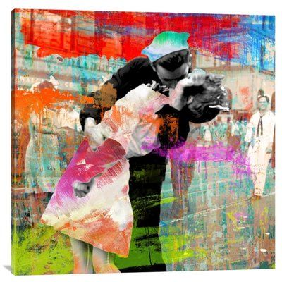 Global Gallery 'Kissing the War Goodbye 2.0 (detail)' by Chestier Graphic Art on Wrapped Canvas Size: