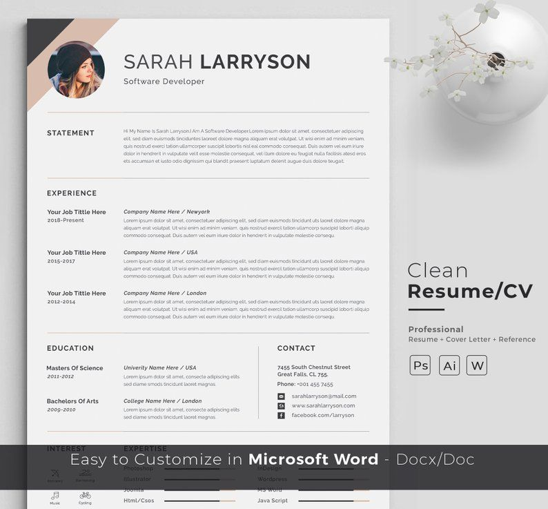 Resume Template Professional Resume Cv Template Modern Etsy Resume Template Professional Resume Cv Resume Template
