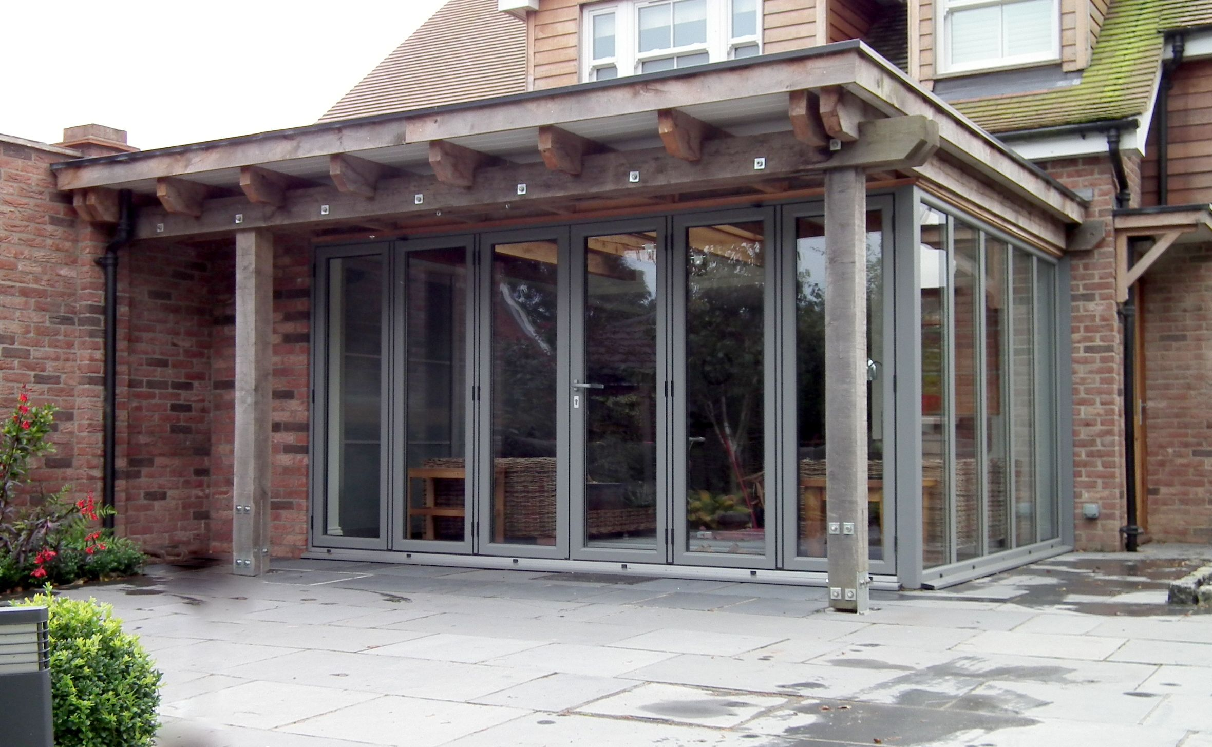 Flat Roof And Recessed Windows. Building Extension ...