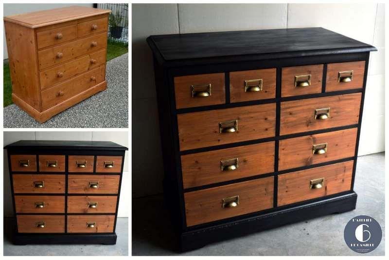 relookage d 39 une commode en pin en meuble de m tier style industriel restaurer meubles. Black Bedroom Furniture Sets. Home Design Ideas