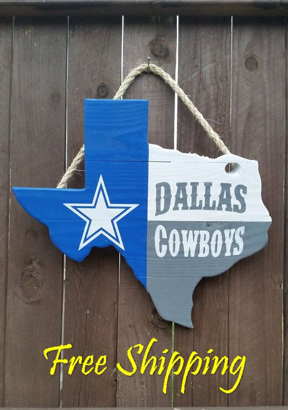 Rustic Wooden Dallas Cowboys Texas Shaped Flag By