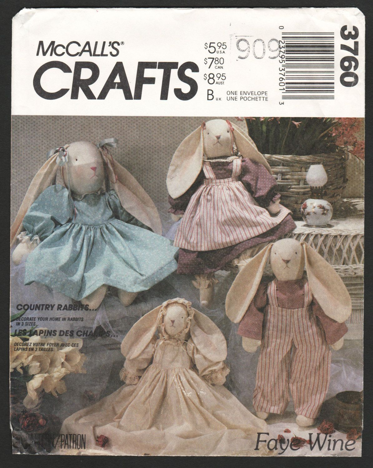Country Rabbit Doll Craft Pattern Stuffed Bunny Rabbits and Clothes ...