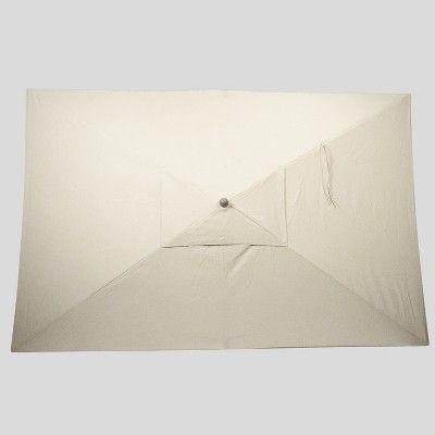 6 5' x 10' Rectangular Patio Umbrella Beige - Ash Pole - Project 62
