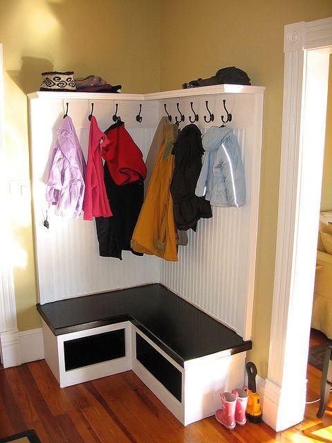 corner entryway bench diy coat rack