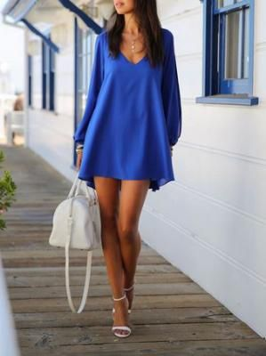 Love this Color Blue! Sapphire Blue Chiffon Shift Dress With Slip Sleeves #Sapphire #Blue #Beach #Fashion