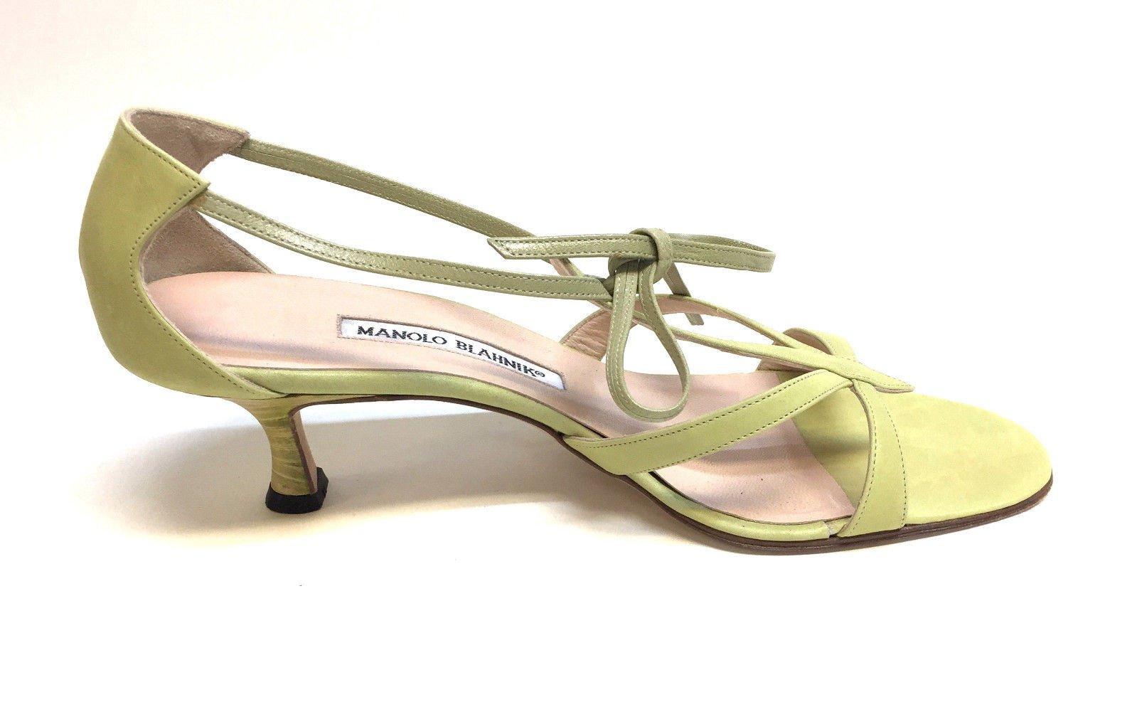 Manolo Blahnik Lime Green Leather Open Toe T Strap Kitten Heel Sandals Size 38 5 8 5 Manolo Blahnik Heels Kitten Heel Sandals Kitten Heel Shoes