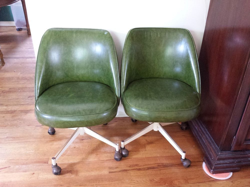 Pair Of Vintage Mid Century Swivel Kitchen Dining Chairs On Wheels