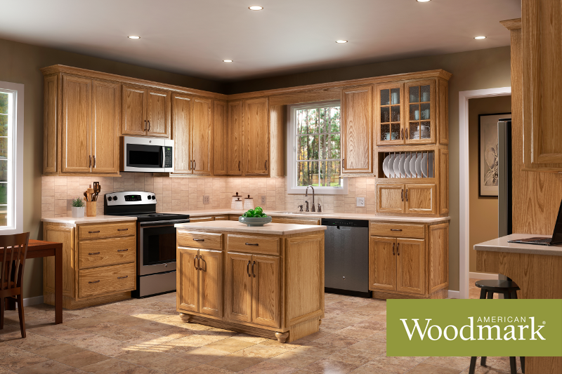 Ashland Oak Tawny Kitchen With Island By American Woodmark Custom Kitchen Cabinets Kitchen Cabinet Design Rustic Kitchen