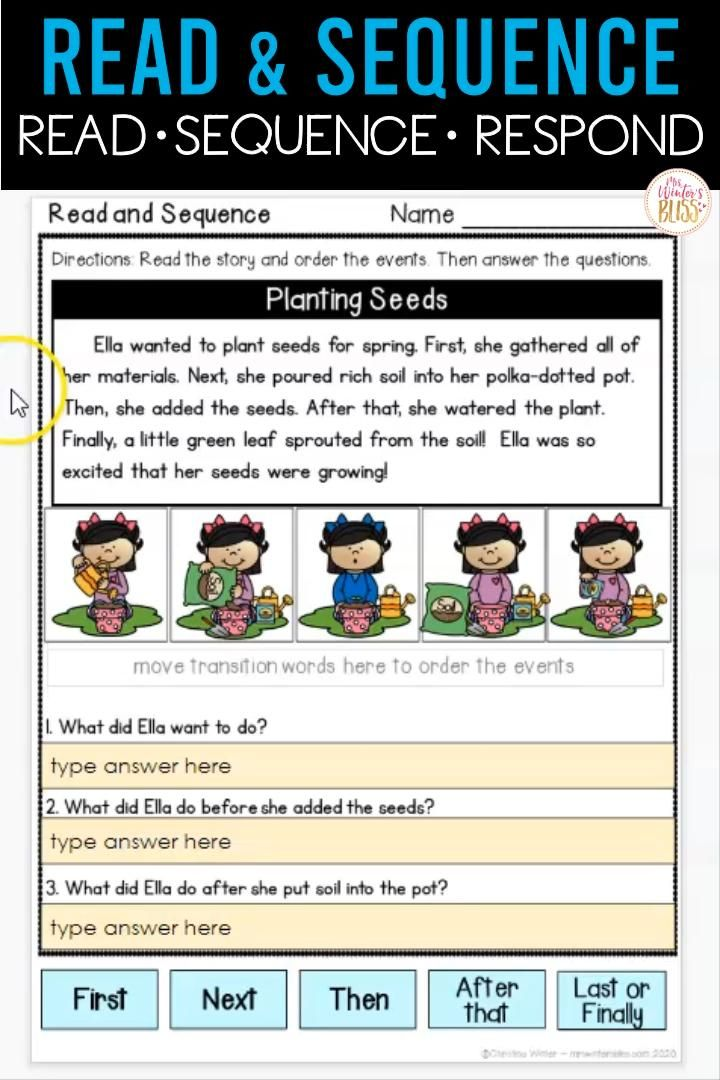 Need distance learning elementary resources? For this writing activity,  1st and 2nd grade students use four sequence picture cards to order events, then use transition words and specific story vocabulary to write their piece!  All the supports are in place to ensure all writers are successful! NOW DIGITAL SLIDE ACTIVITIES INCLUDED!!