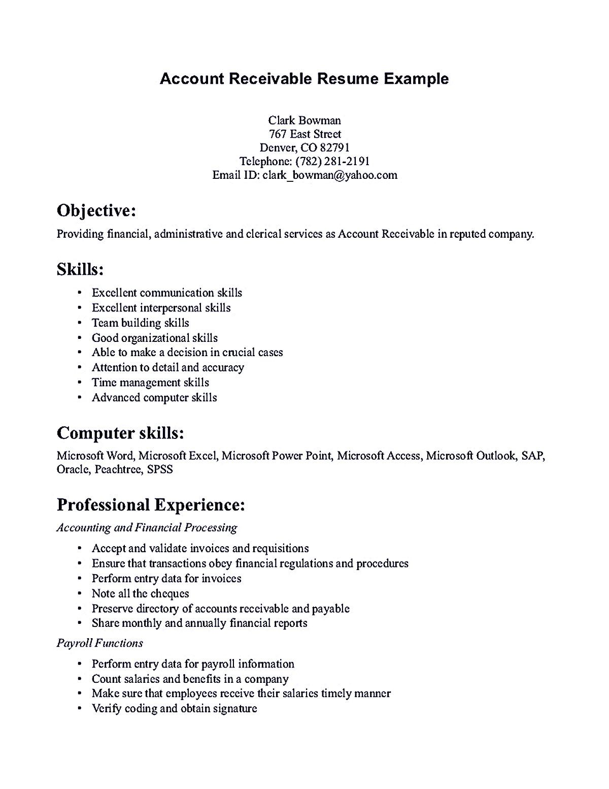 Professional Summary Resume New Account Receivable Resume Shows Both Technical And Interpersonal Design Decoration