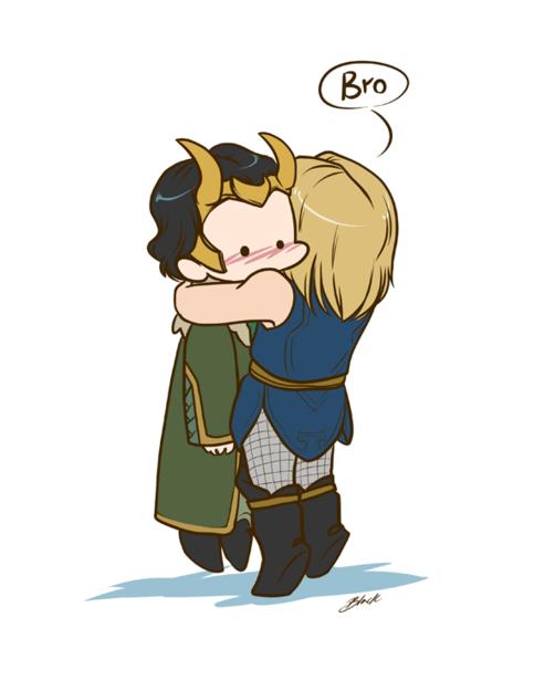 Agent Loki and Thor – Bro Hug print – Avengers – 8.5 x11 fanart print