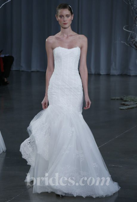 Brides Monique Lhuillier Fall Pion Strapless Chantilly Lace Trumpet Wedding Dress With Gathered Tulle Overlay