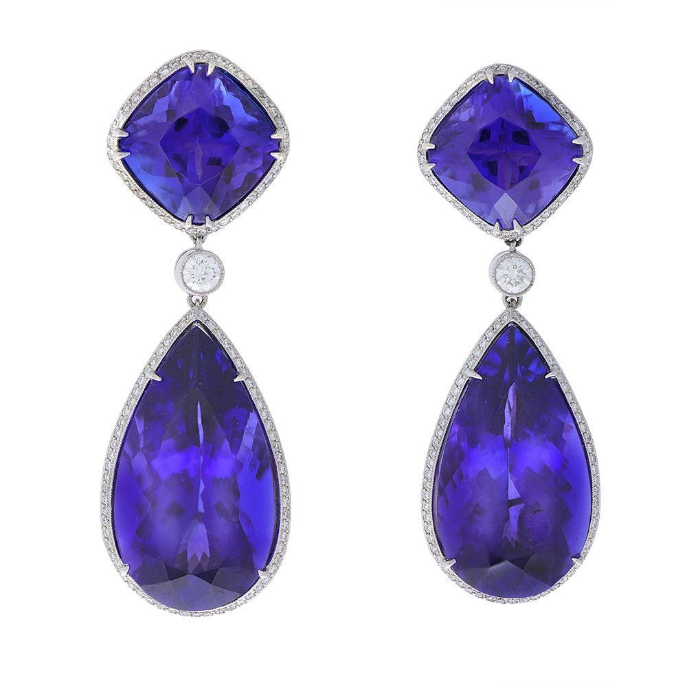 view tanzanite trillion cut in p earrings white stud trillioncut v gold