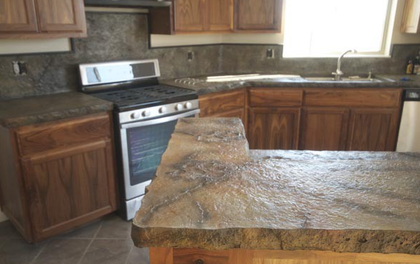 Using A Release Agent For A Stamped Concrete Finish On A Countertop Concrete Countertop Design Concrete Countertops Diy Concrete Countertops