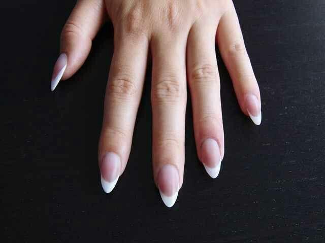 French Stilleto French Acrylic Nails Almond Nails French Acrylic Nail Shapes
