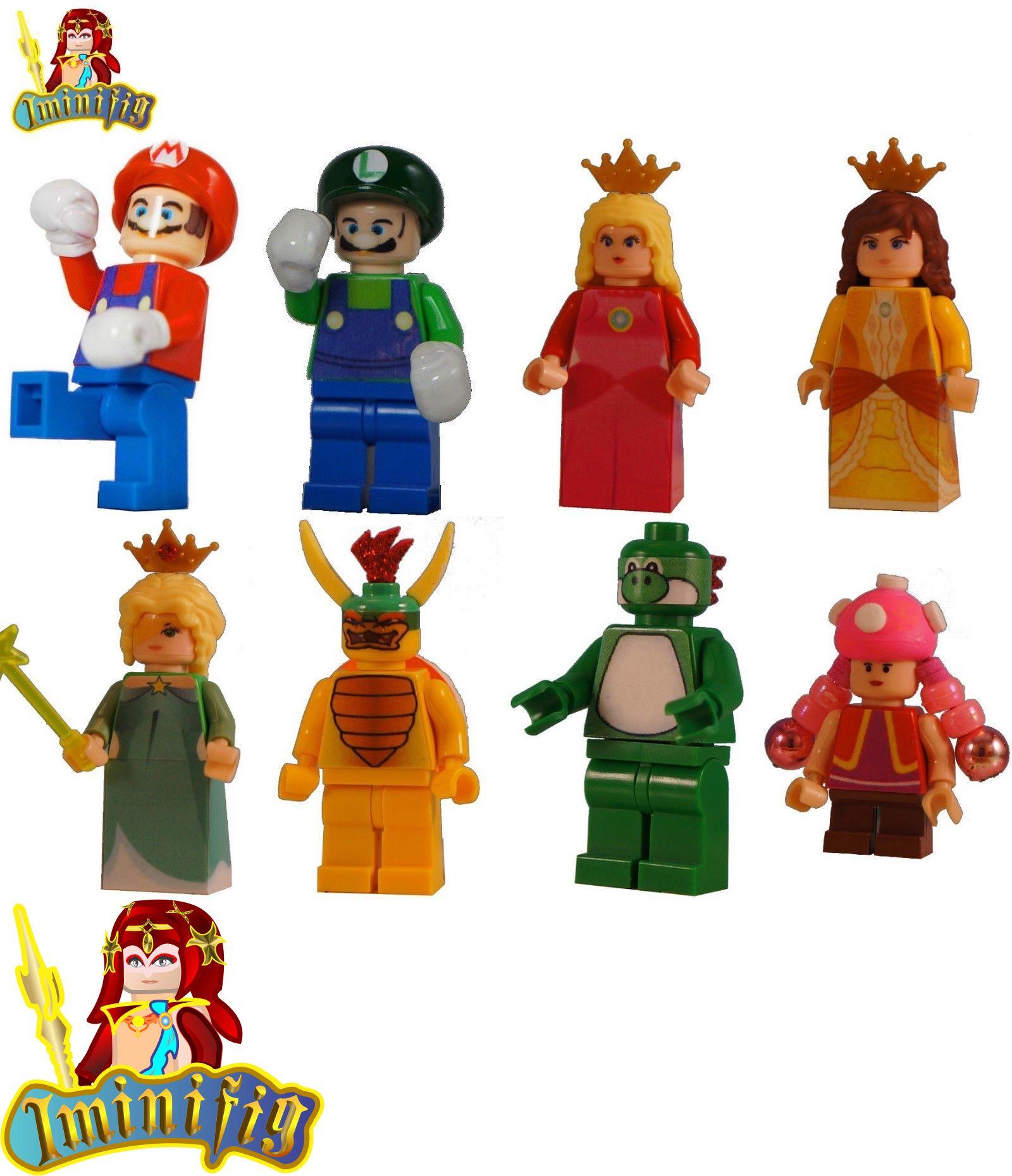 Details About Lego Custom Minifigure Super Mario Luigi Peach