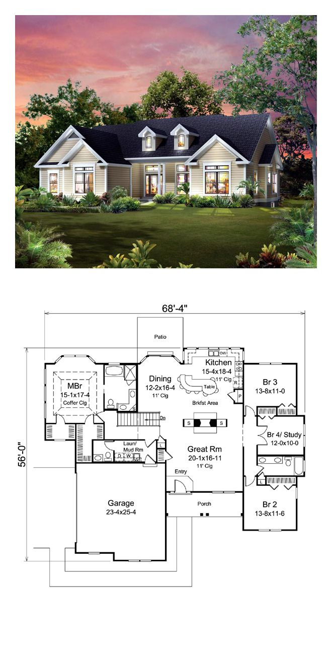 Traditional Style House Plan 95900 With 4 Bed 3 Bath 2 Car Garage House Exterior House Floor Plans Ranch House Remodel