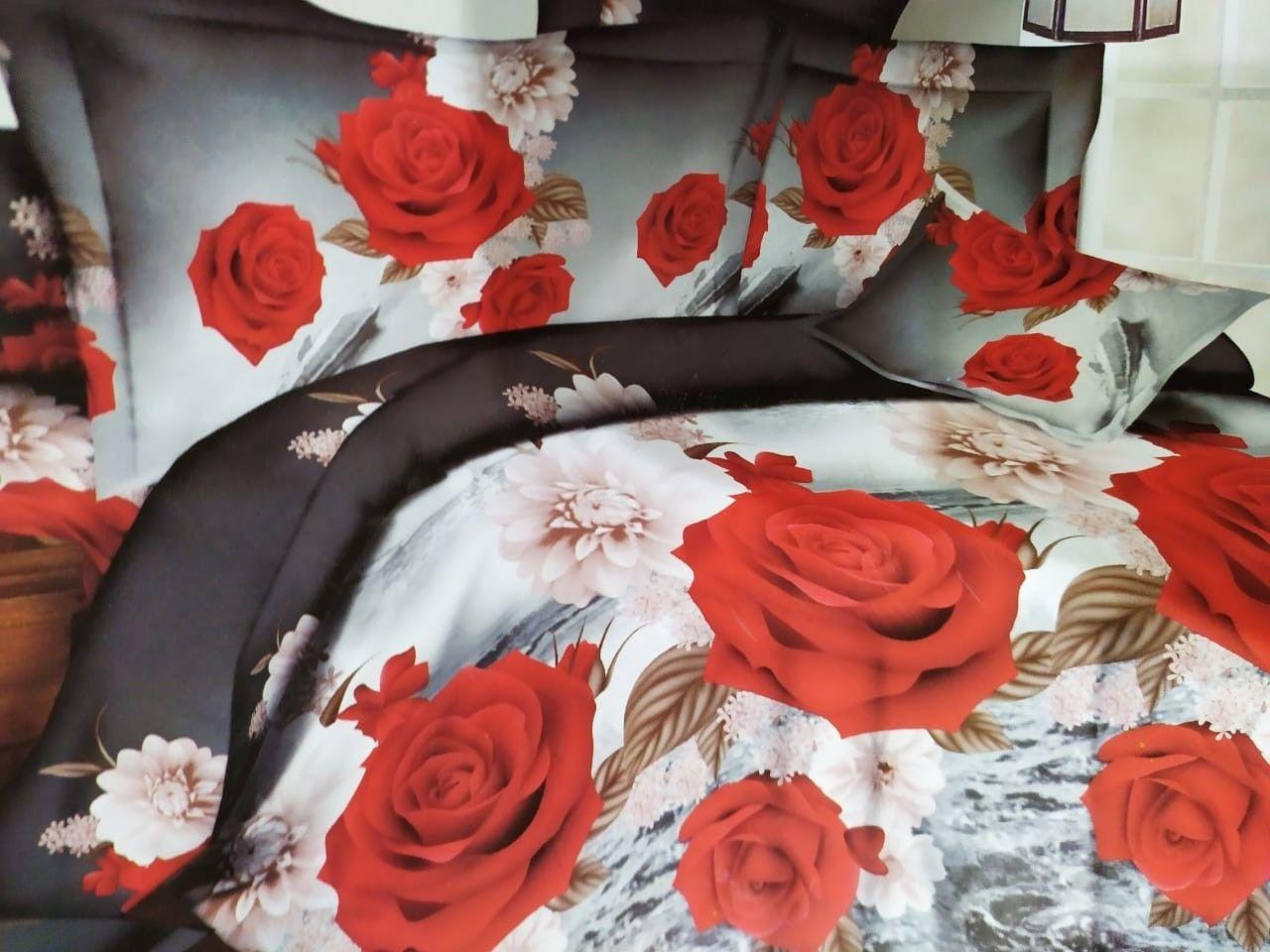 ملايات سرير قطن تركى Bed Sheets Red Roses Bed