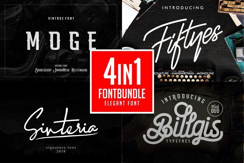 Download Font Bundle 4in1 By Banyumili Studio | TheHungryJPEG.com ...