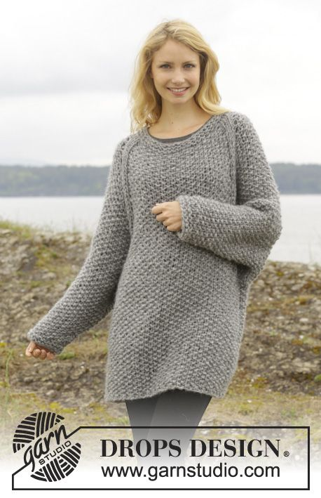 Knitted Drops Jumper With Moss St And Raglan Worked Top Down In