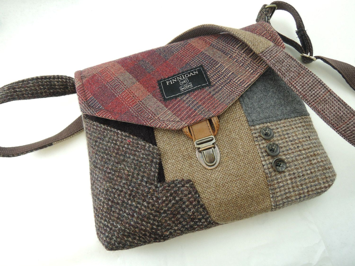 Crossbody bag, Crossbody Purse, Recycled Crossbody Purse, Handbag, Recycled wool, iPhone pocket,Recycled mens suit coat, Ready to Ship by SewMuchStyle on Etsy