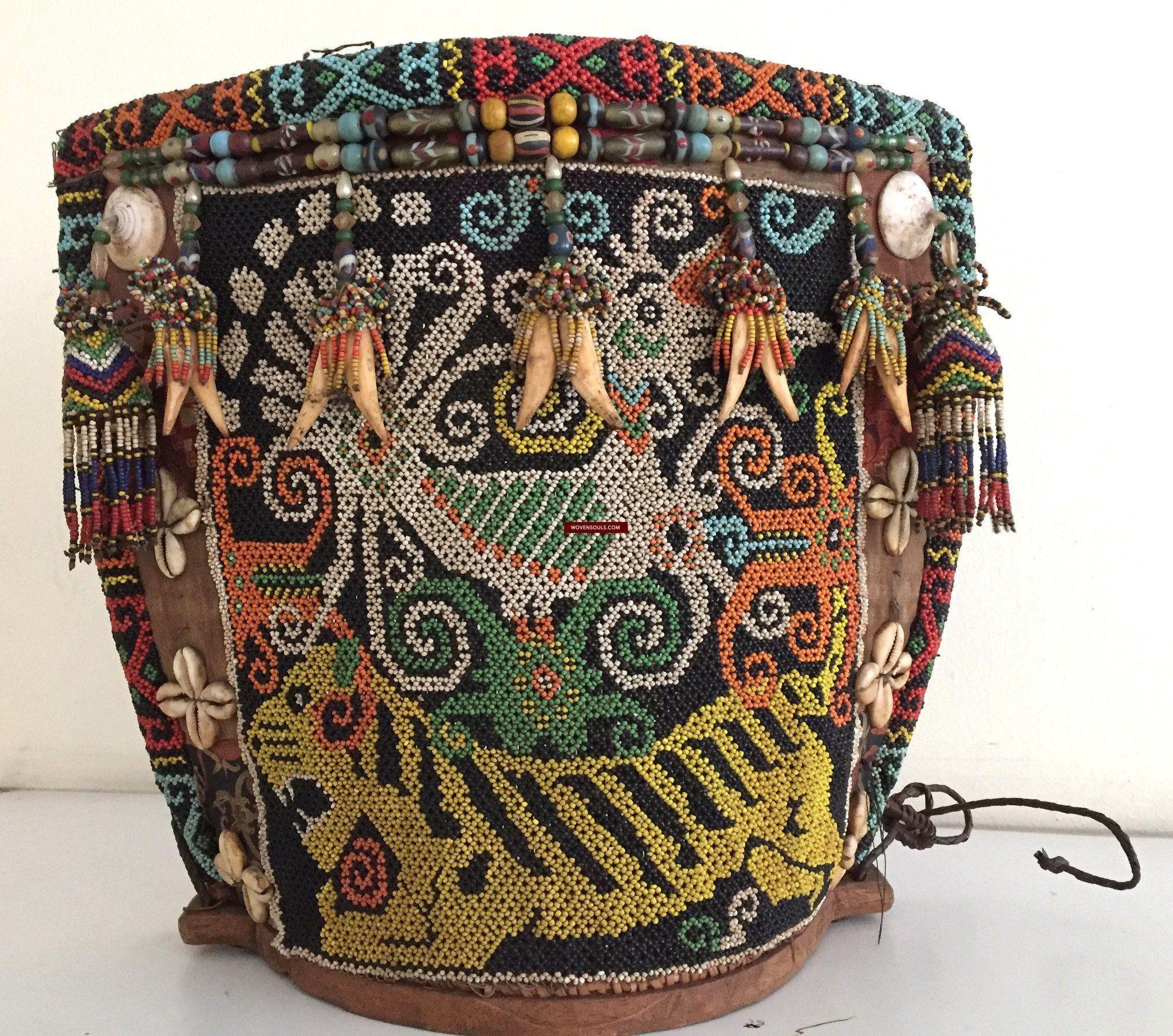 877 Antique KalimantanDayak Beaded Basket Baby Carrier