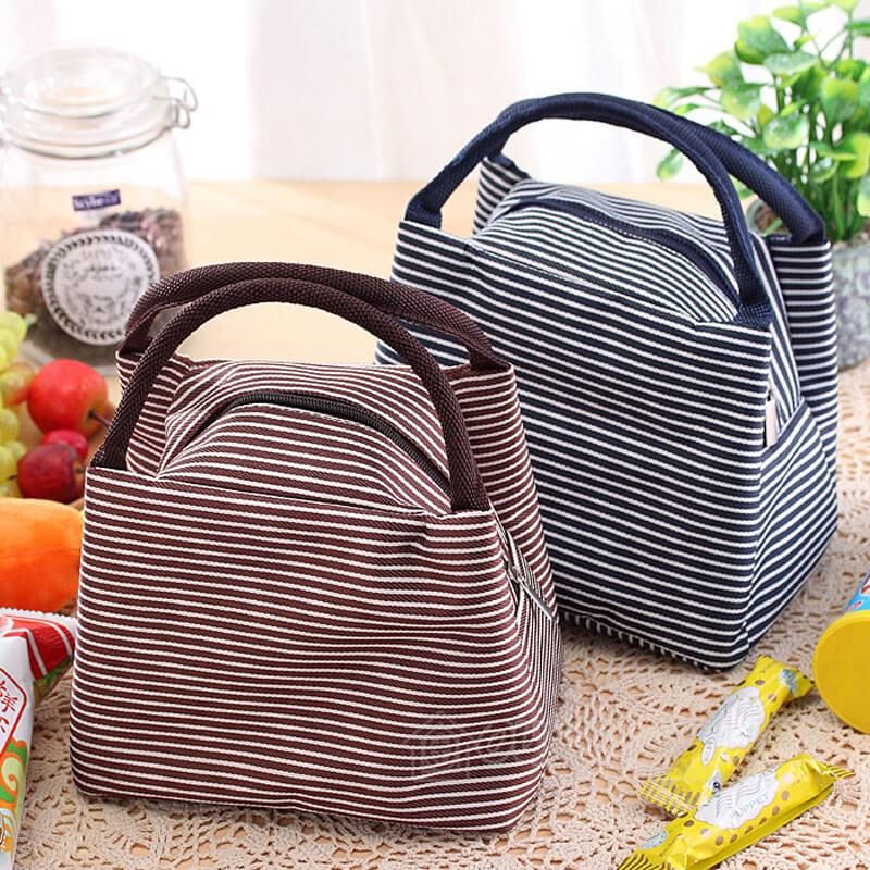 Waterproof Insulated Thermal Stripe Oxford Cloth Lunch Tote
