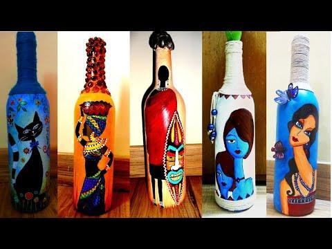 3 5 Bottle Painting Ideas Bottle Art Youtube In 2020 Bottle Art Bottle Painting Glass Bottles Art