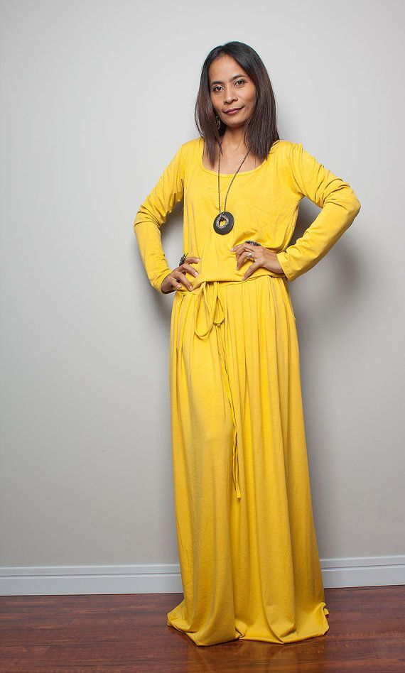 Maxi Dress Yellow Long Sleeve dress Autumn Thrills by Nuichan ...