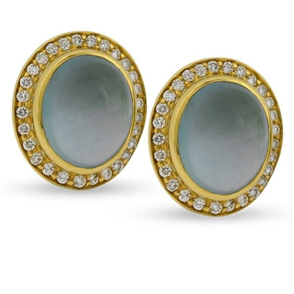 18k Yellow Gold Earrings With Capri Aqua Cabochons & Diamonds ($4,350) ❤ liked on Polyvore featuring jewelry, earrings, gold diamond jewelry, 18k gold jewelry, diamond earrings, 18k diamond earrings and 18k yellow gold earrings