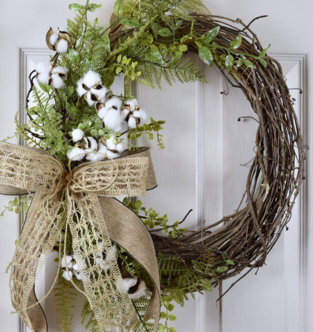 Cotton Burlap Grapevine With Foliage Vine Wreath Primitive