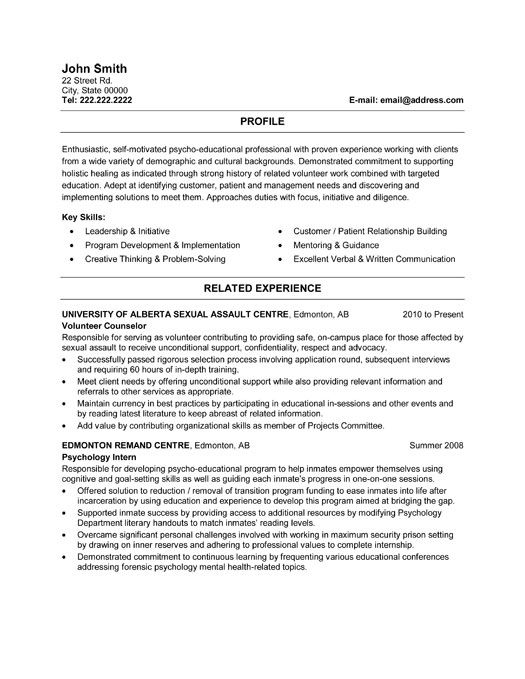 Click Here to Download this Volunteer Counsellor Resume Template - career counselor resume