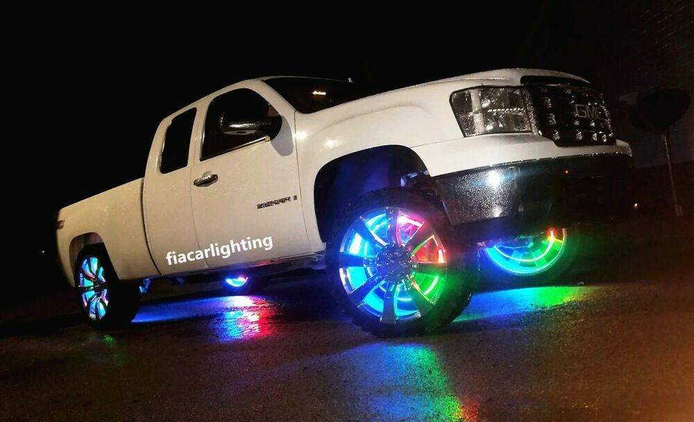 Fialights 17 5 Double Row Multicolor Chasing Led Bluetooth Led Wheel Rings Light Ebay In 2020 Jeep Lights Cool Trucks Led Light Bars
