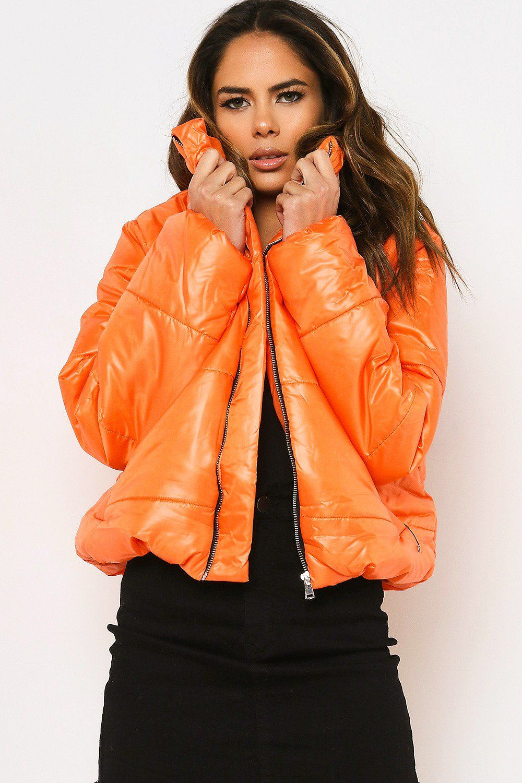 Orange Cropped Puffer Jacket Sports Luxe Trend Occasion Lasula Cropped Puffer Jacket Jackets Cropped Bomber Jacket [ 1500 x 1000 Pixel ]