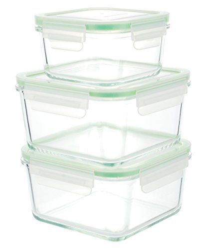 Glass Food Storage Containers With Locking Lids Kinetic Gogreen Glassworks Series 6Piece Square Oven Safe Glass Food