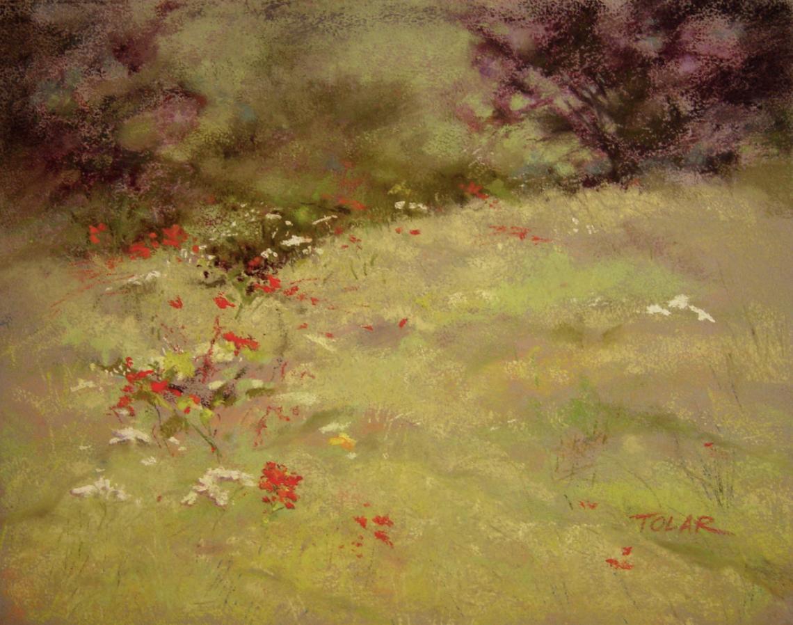 jude tolar wildflowers dance pastel on ampersand pastelbord 11