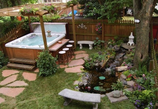 How To Clean A Hot Tub Hot Tub Backyard Hot Tub Landscaping